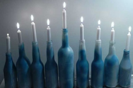 Craft Ideas Glass Bottles on Glass Bottle Menorah By Home And Garden Editor
